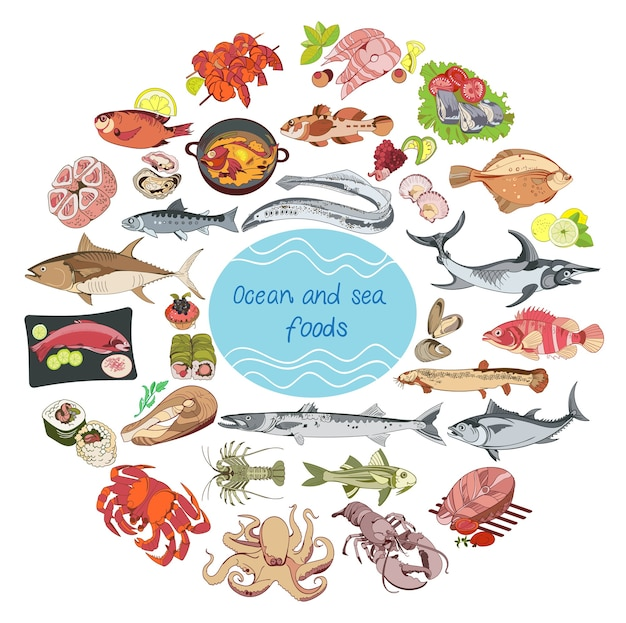 Sea and ocean food round concept Free Vector