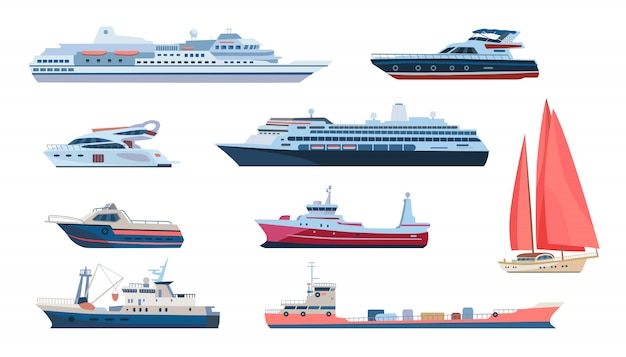 Sea and ocean transport set Free Vector