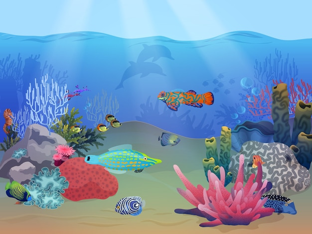 Sea ocean underwater landscape Premium Vector