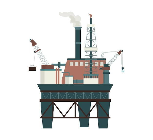 Sea oil platform drilling for offshore oil. industrial exploration of petroleum, diesel fuel. moddern technology for exploration of natural resources. Premium Vector