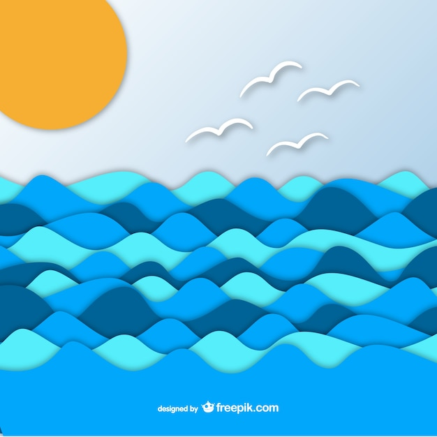 Sea on paper graphic background Free Vector