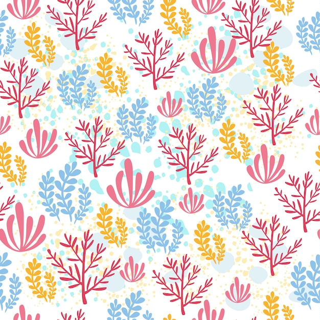 Sea pattern with coral Free Vector