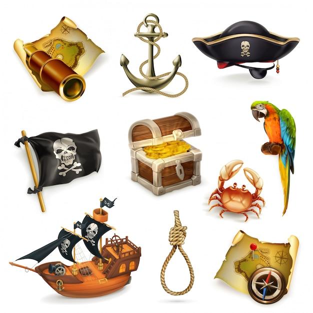 Sea pirates, vector clipart set Premium Vector