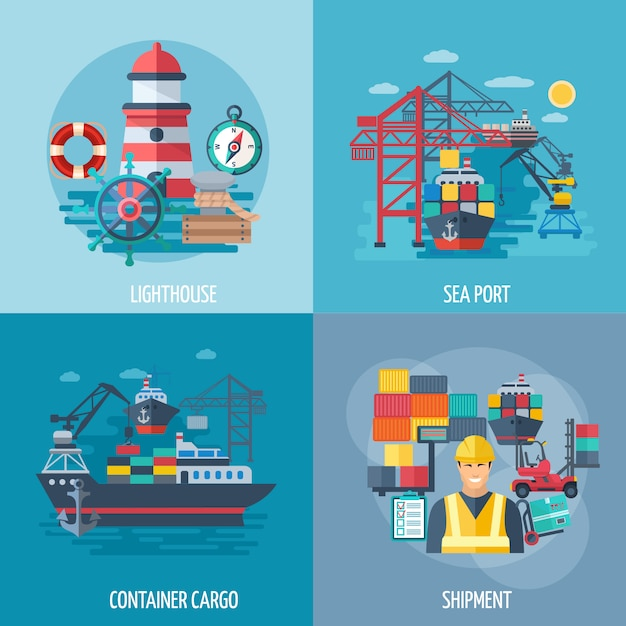 Sea port design concept set with container cargo and shipment flat icons Free Vector