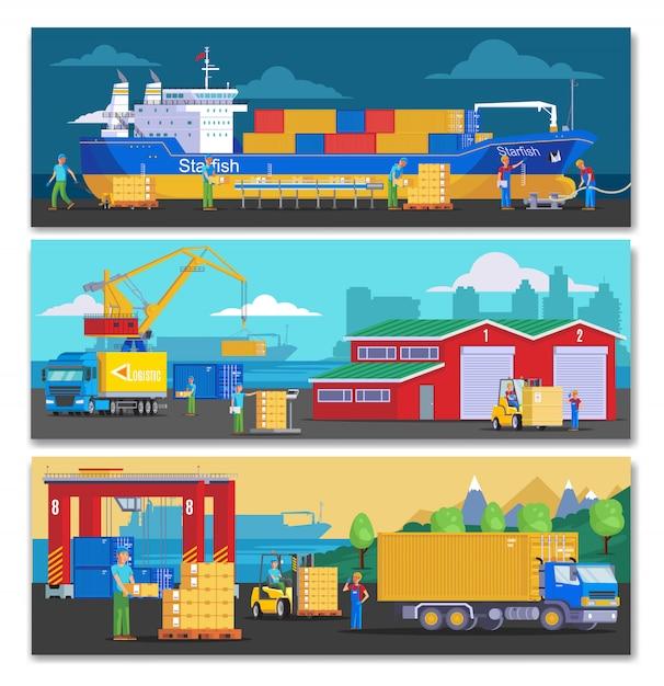 Горизонтальные баннеры морского порта Premium векторы