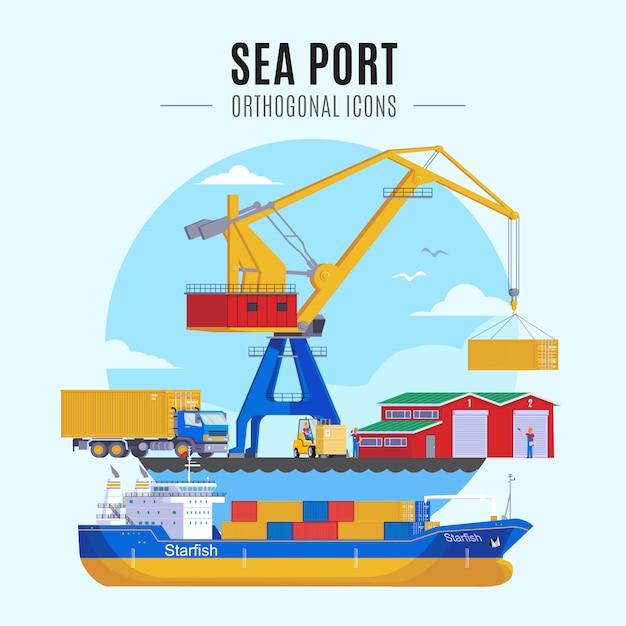 Иллюстрация морского порта Бесплатные векторы