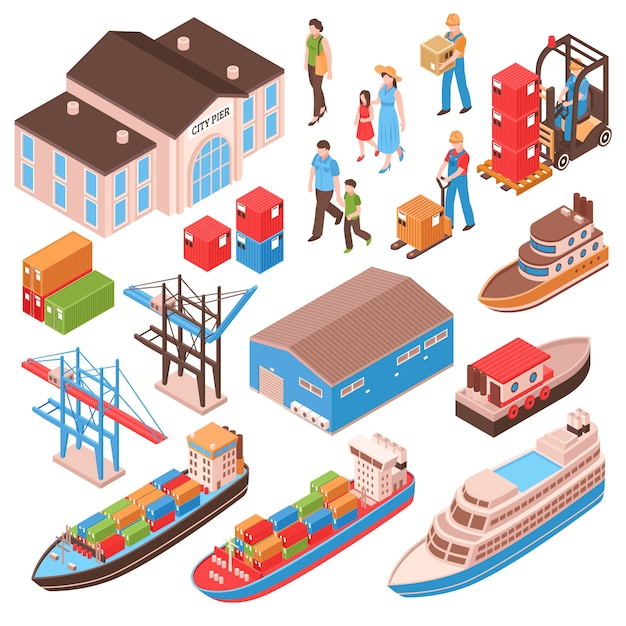 Sea port isometric set with city persons, pier building, cargo ships, harbor facilities Free Vector