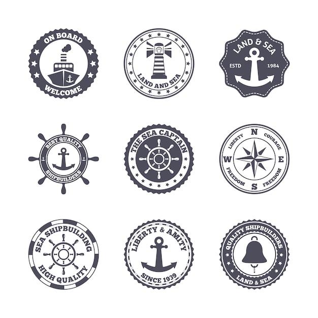 Морской порт морской транспорт ярлык черный набор изолированных векторной иллюстрации Бесплатные векторы