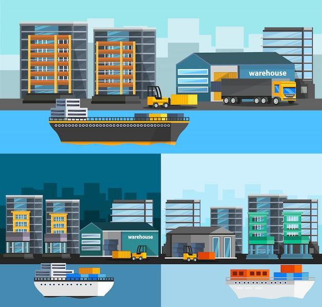 Set di composizioni ortogonali in porto marittimo Vettore gratuito