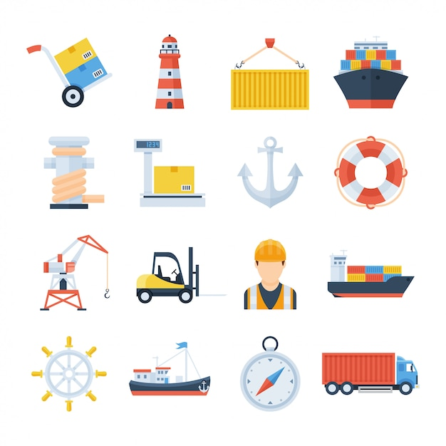 Sea port set of vector icons in a flat style Premium Vector