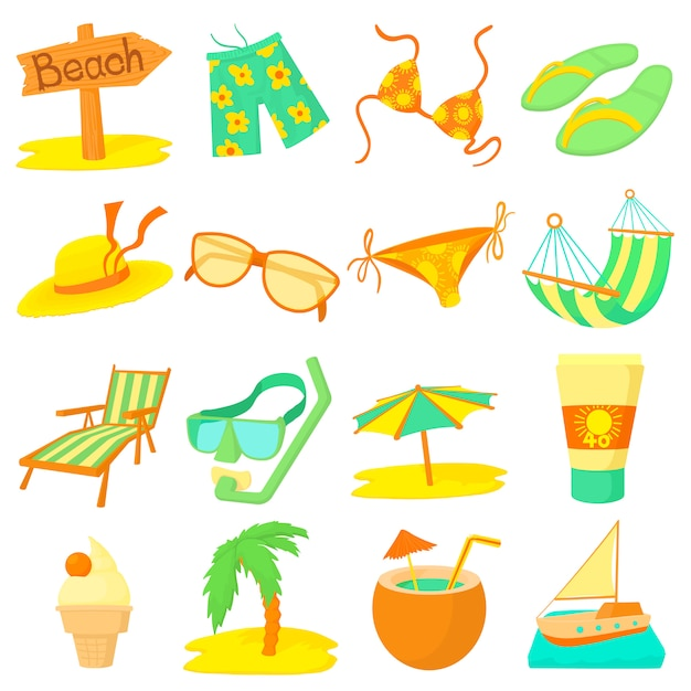 Sea rest icons set Premium Vector