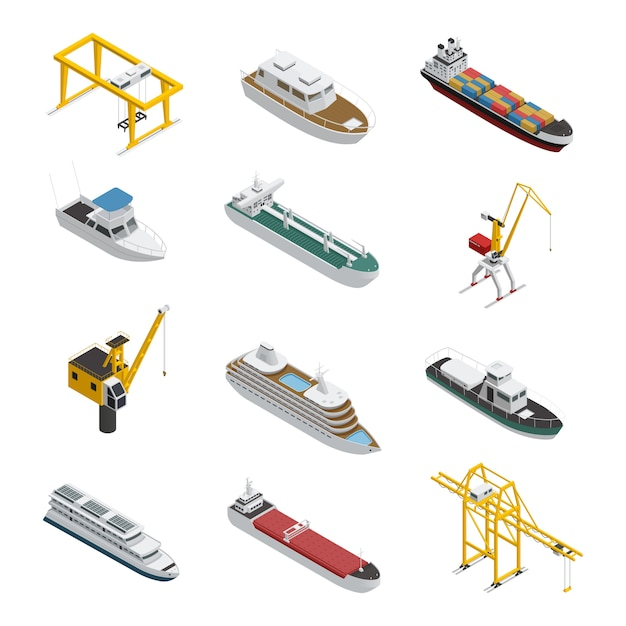 Sea and river vessel isometric icons set Free Vector