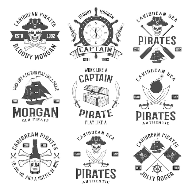 Sea robbers monochrome emblems with piratic symbol compass weapons sailboat rum bottle chest ribbon isolated vector illustration Free Vector