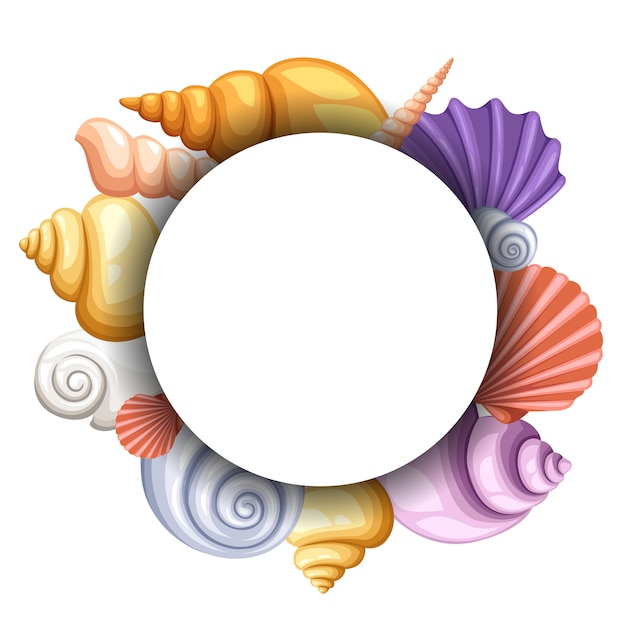 Sea round  , colorful seashells concept. objects in white circle, color exotic cockleshell,  illustration Premium Vector