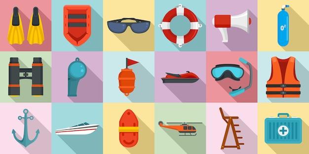Sea safety icons set Premium Vector