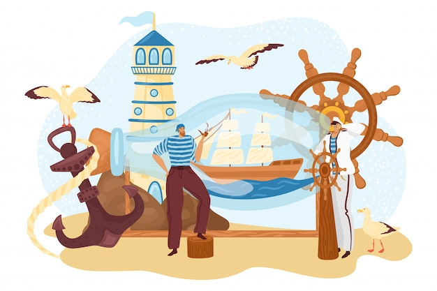 Sea sailor people, seaman near bottle ship, marine cruise captain travel at boat,  illustration.  nautical man character adventure concept, sailing anchor and  vessel. Premium Vector