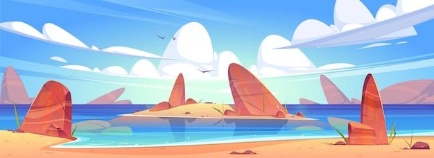 Морской песчаный пляж, побережье океана с камнями и остров в воде. Бесплатные векторы