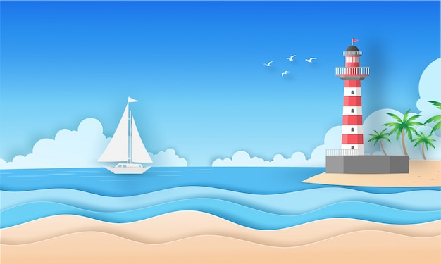 Sea Scape View And Beach With Cloud Island Birds Boat And
