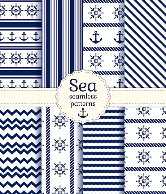 Sea seamless patterns. Premium Vector
