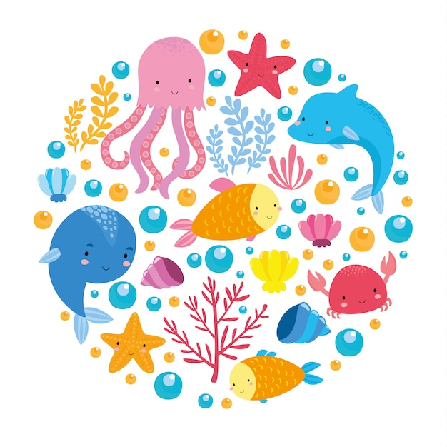 Sea set with cute animals Free Vector