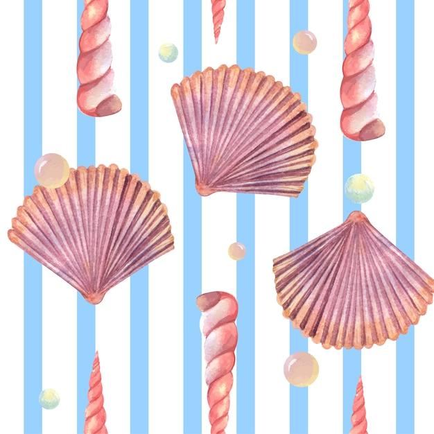Modello di vita marina della conchiglia senza cuciture, estate di vacanza di viaggio sulla spiaggia Vettore gratuito