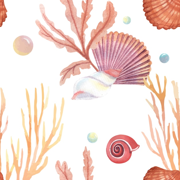 Sea shell marine life pattern seamless, travel vacation summertime on the beach Free Vector