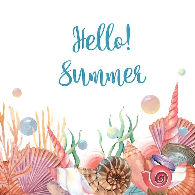 Sea shell marine life summertime travel on the beach Free Vector
