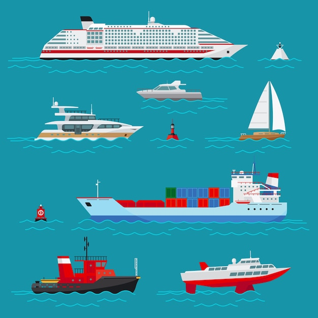 Sea ships set. sea transport, ocean transportation, delivery and shipping, buoy and boat, cruise liner and tow Free Vector