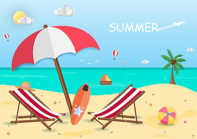 Sea in summer time. view of the on background design. Premium Vector