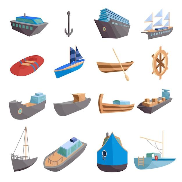 Sea transport icons set. cartoon illustration of 16 sea transport icons for web Premium Vector