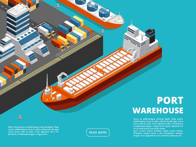 Sea transportation horizontal sea freight and shipping background with isometric seaport Premium Vector