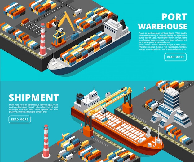 Sea transportation horizontal  sea freight and shipping banners with isometric seaport, ships, containers and crane Premium Vector