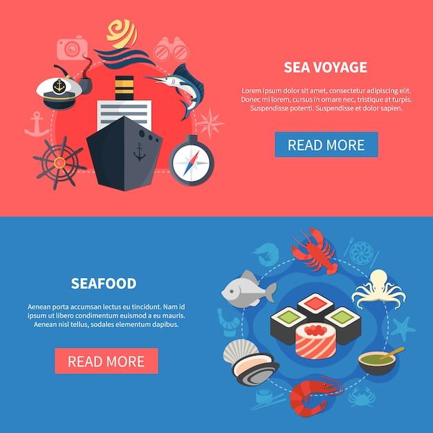 Set di banner viaggi mare Vettore gratuito