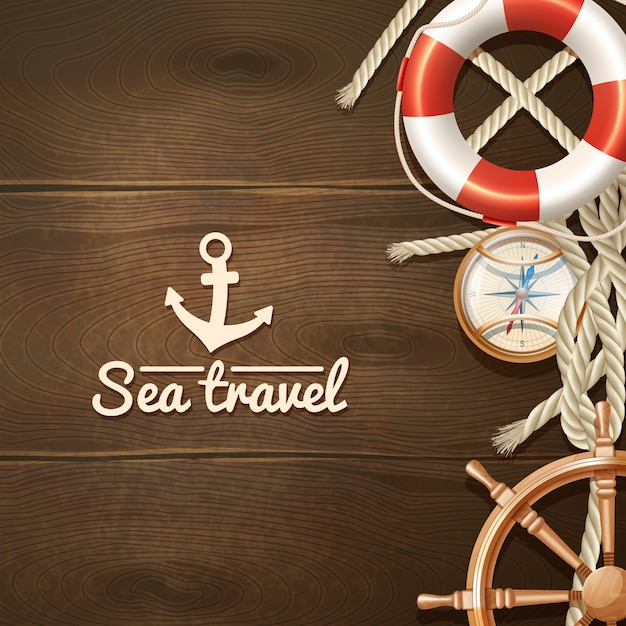 Sea travel and sailing realistic background with life buoy compass and helm Free Vector