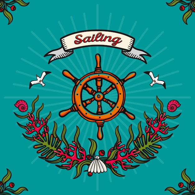 Sea traveling and sailing. hand-drawn vector image on a blue background Premium Vector
