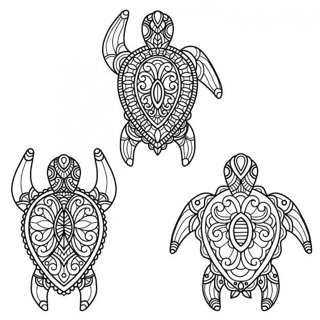 Premium Vector Sea Turtle Pattern Hand Drawn Sketch Illustration For Adult Coloring Book