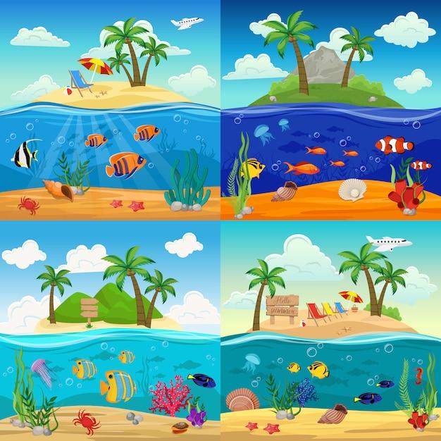 Море подводной жизни иллюстрации с рыбами морские коньки медузы морские звезды раковины краб водоросли на тропический остров пейзаж Бесплатные векторы