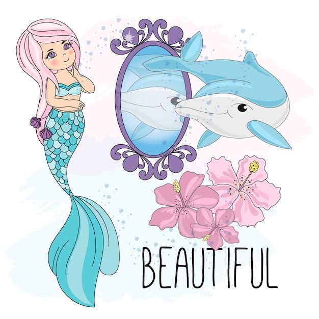 Sea underwater vector illustration set mermaid mirror Premium Vector