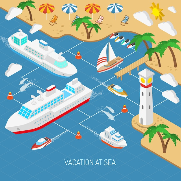 Sea vacation and ships concept Free Vector