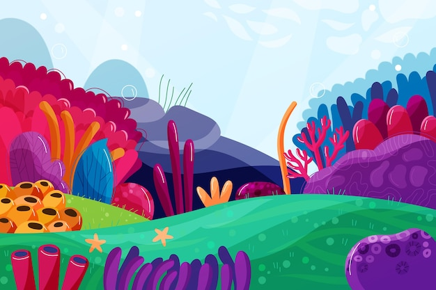 Under the sea wallpaper for video conferencing Free Vector