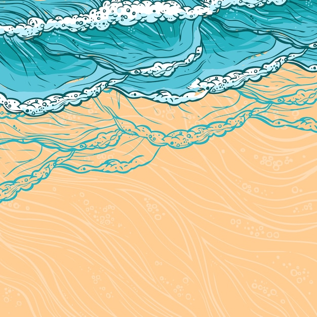 Sea waves and beach illustration Free Vector