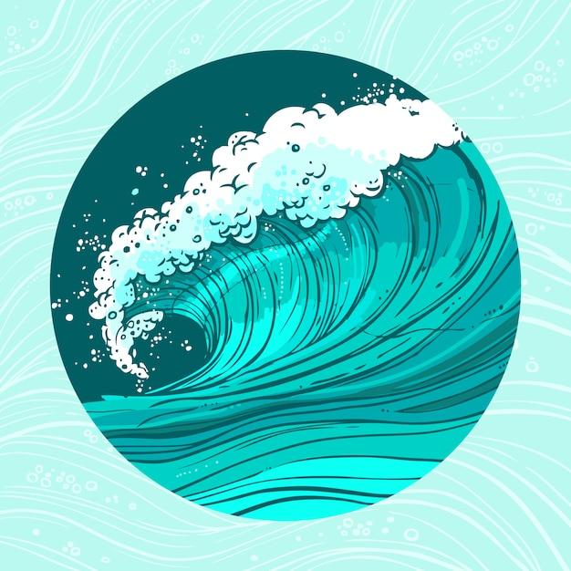 Sea waves circle illustration Free Vector