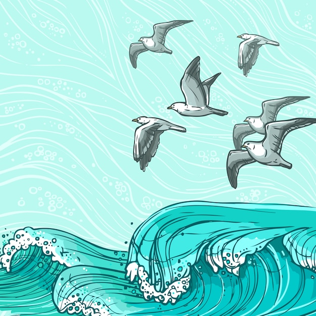 Sea waves illustration Free Vector