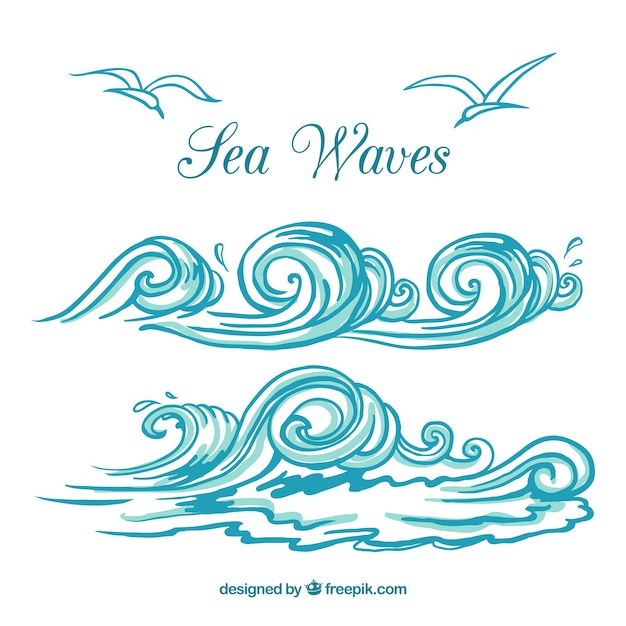 Sea waves Premium Vector