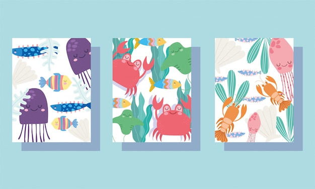 Under the sea, wide marine life landscape cartoon jellyfish crabs lobster banner cover and brochure Premium Vector