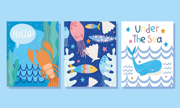Under the sea, wide marine life landscape cartoon lobster whale shell banner cover and brochure Premium Vector