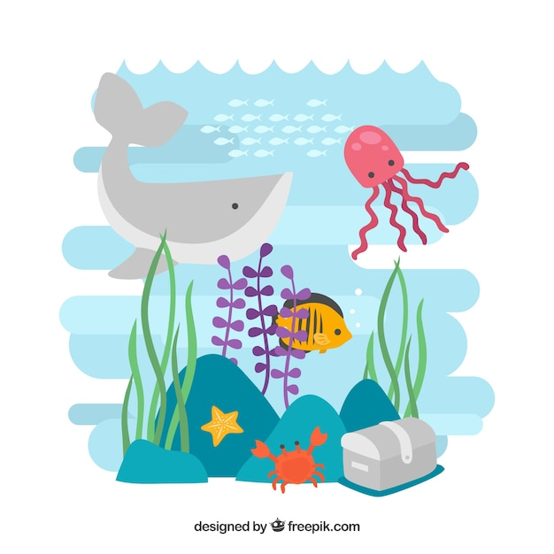 Sea Wildlife Background Free Vector