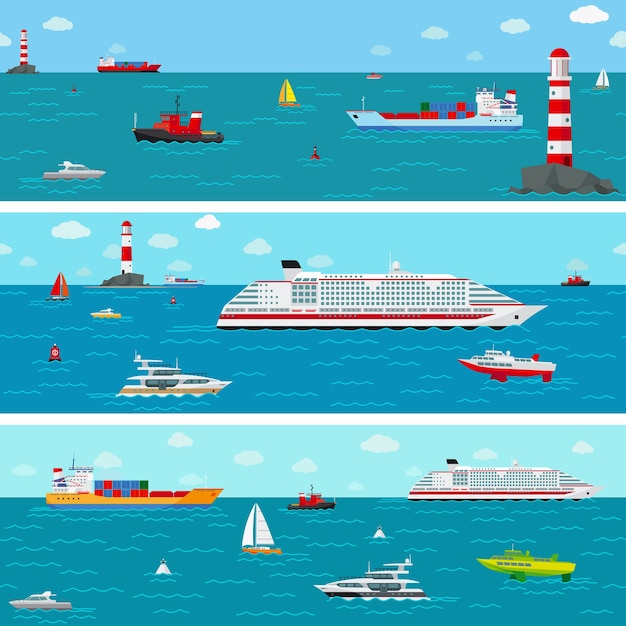 船と海。ボートと船積み、ヨットとライナー 無料ベクター