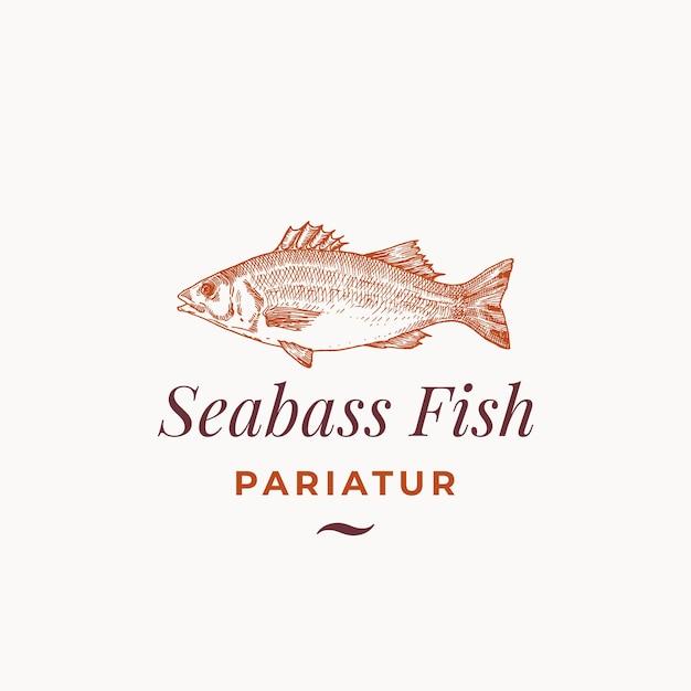 Seabass 물고기 추상 기호, 상징 또는 로고 템플릿. 무료 벡터