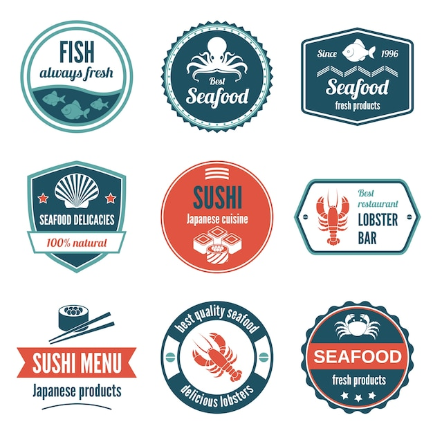 Seafood always fresh fish products delicacies sushi japanese cuisine lobster bar icons set isolated vector illustration. Free Vector